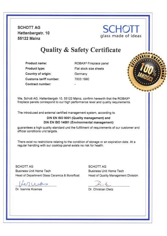 certyfikat szyby do kominka